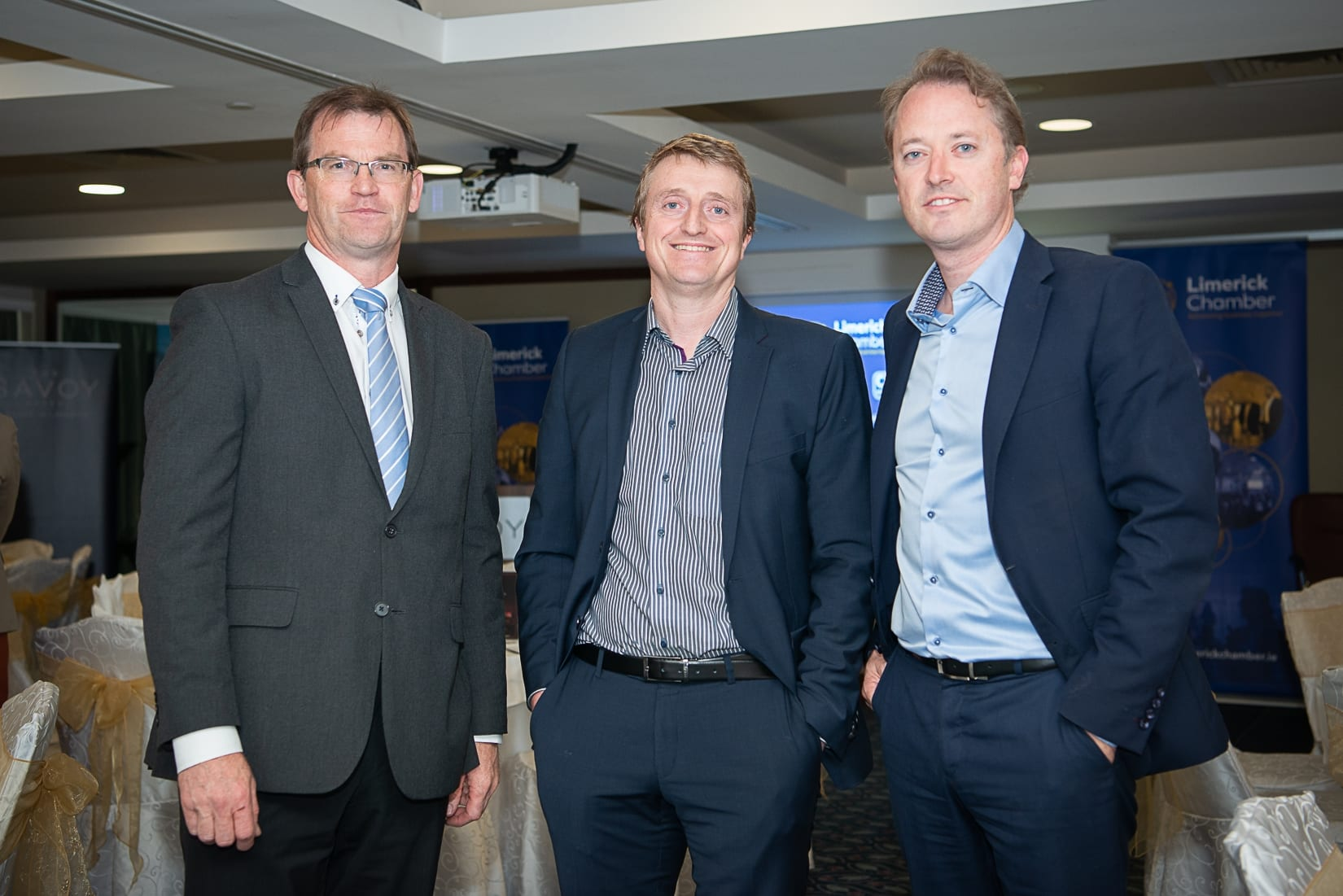 No repro fee-Limerick Chamber Autumn Luncheon which was held in The Savoy Hotel on Monday 23rd September - From Left to Right: Alan Luby - PWC, Sean Arkins - Techno Path, John Daly - PWC.  Photo credit Shauna Kennedy