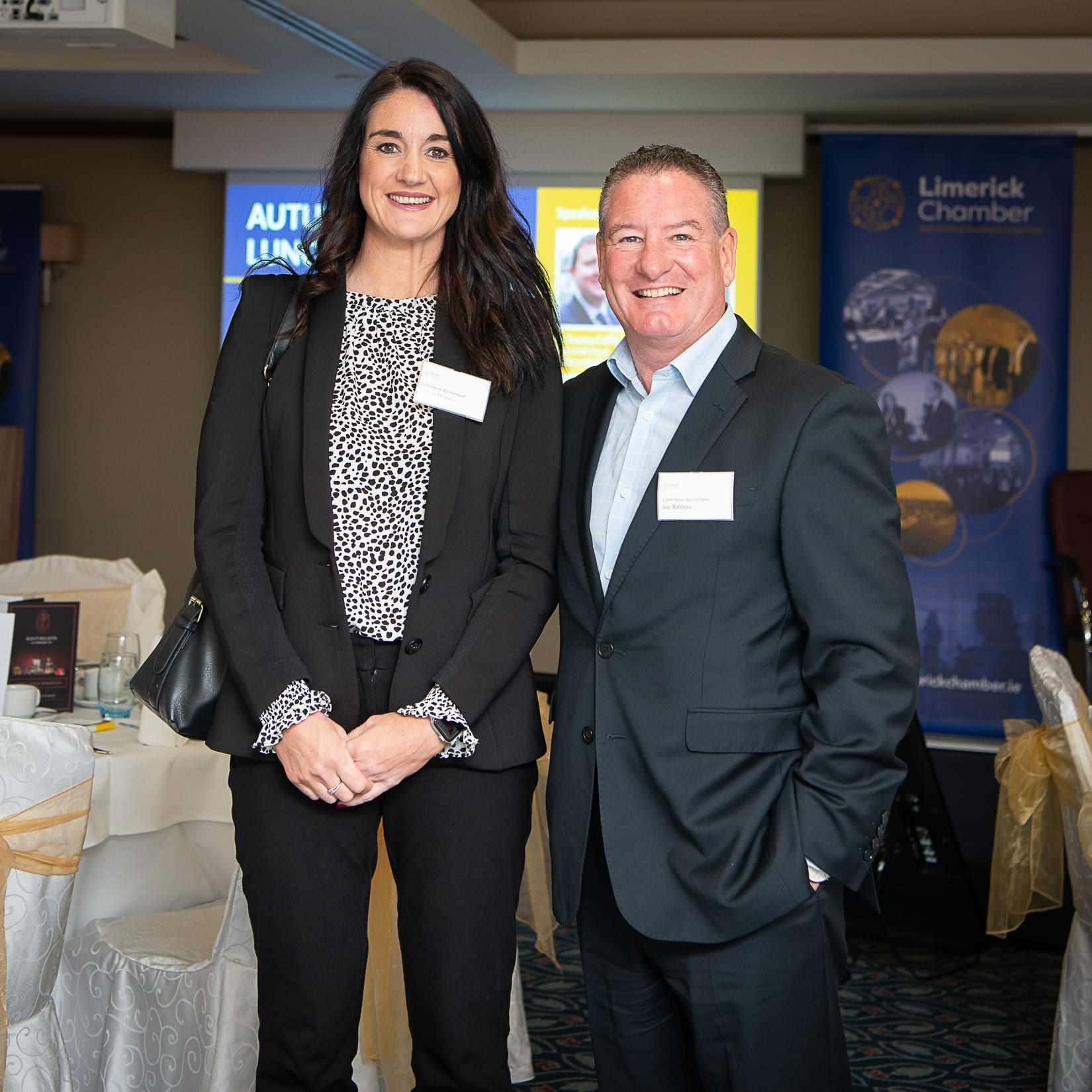 No repro fee-Limerick Chamber Autumn Luncheon which was held in The Savoy Hotel on Monday 23rd September - From Left to Right: Gillian Dunphy and Joe Robbins both from Career Wise Recruitment.  Photo credit Shauna Kennedy