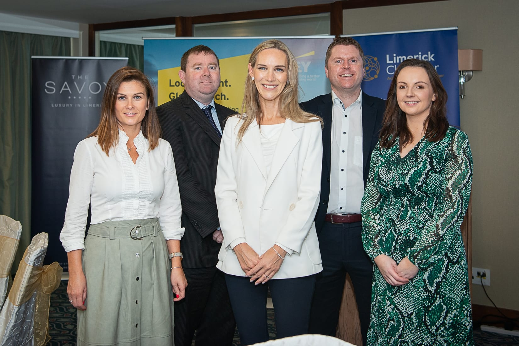 No repro fee-Limerick Chamber Autumn Luncheon which was held in The Savoy Hotel on Monday 23rd September - From Left to Right: Leanne  Storan- Director of Tax Limerick EY, Seamus Coffey - Chair Irish Fiscal Advisory Council, Dee Ryan - CEO Limerick Chamber, Eoin Ryan - President Limerick Chamber, Dr Catriona Cahill - Chief Economist Limerick Chamber.  Photo credit Shauna Kennedy