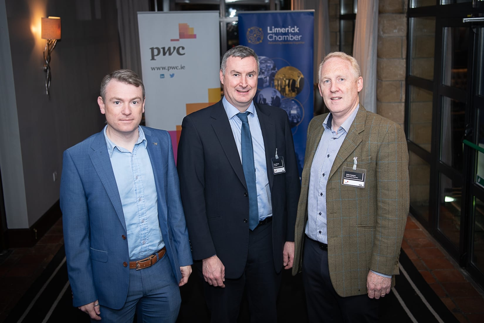 PWC Budget Breakfast in association with the Limerick Chamber which took place in the Castletroy Park Hotel on 9th October 2019, from left to right:  Philip Stack - ARUP, Brian Shanley - Ulster Bank, John Cannon - Martinstown Stud.  Photo by Morning Star Photography