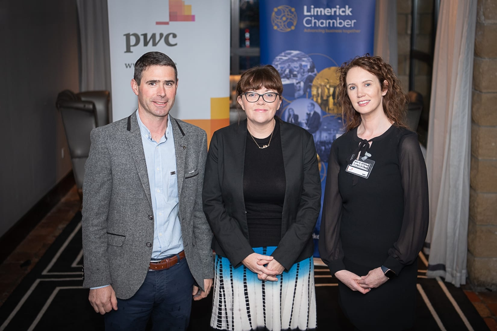 PWC Budget Breakfast in association with the Limerick Chamber which took place in the Castletroy Park Hotel on 9th October 2019, from left to right: Donnacha Dowling - Magellan Aviation Group, Elaine Ryan - Clayton Hotel, Mary McNamee- Limerick Chamber.   Photo by Morning Star Photography