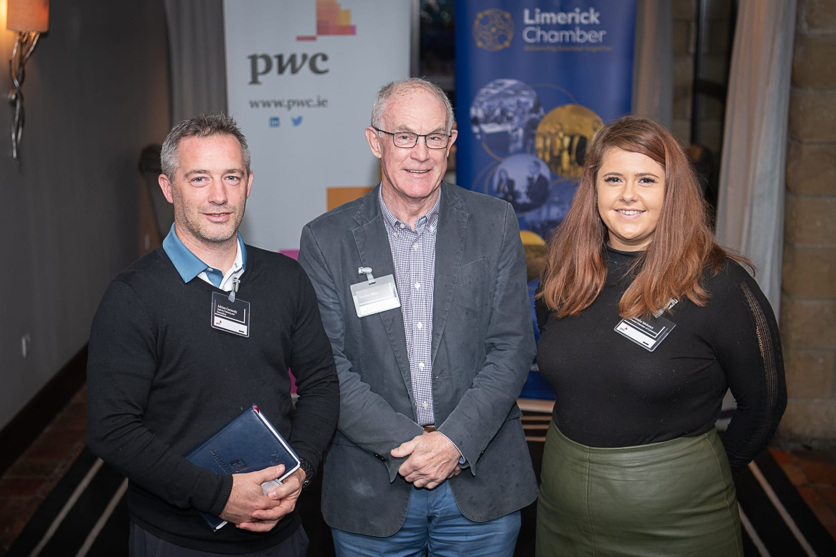 PWC Budget Breakfast in association with the Limerick Chamber which took place in the Castletroy Park Hotel on 9th October 2019, from left to right: Adrian Carmody - Optimal Training, Gordan Milne - PWC, Caoimhe Moloney - Limerick Chamber.  Photo by Morning Star Photography