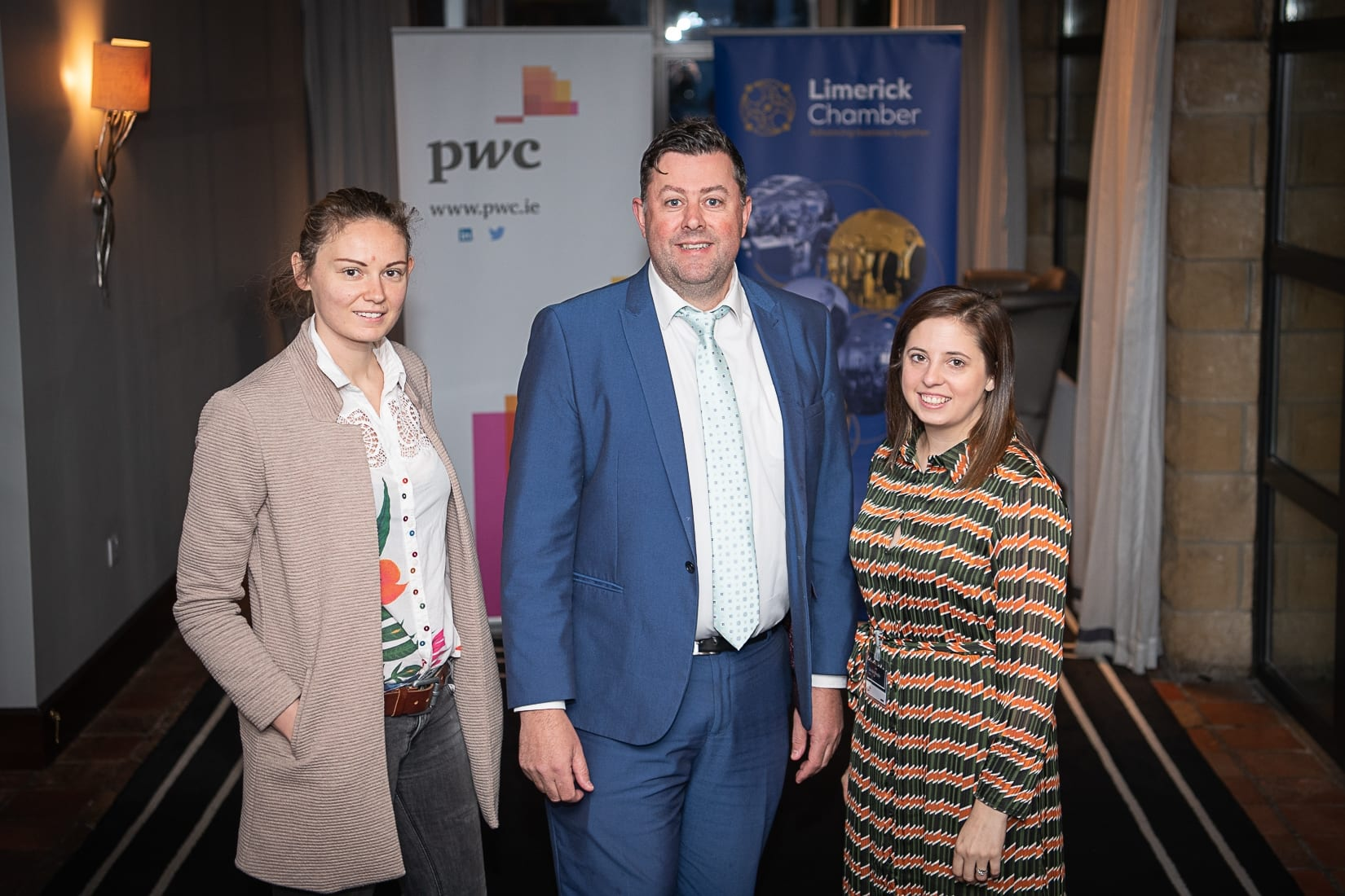 PWC Budget Breakfast in association with the Limerick Chamber which took place in the Castletroy Park Hotel on 9th October 2019, from left to right: Karolina Mazurek - Design Pro Automation, Patrick O'Sullivan - Sales Dynamics, Deirdre Sankar - PWC Photo by Morning Star Photography