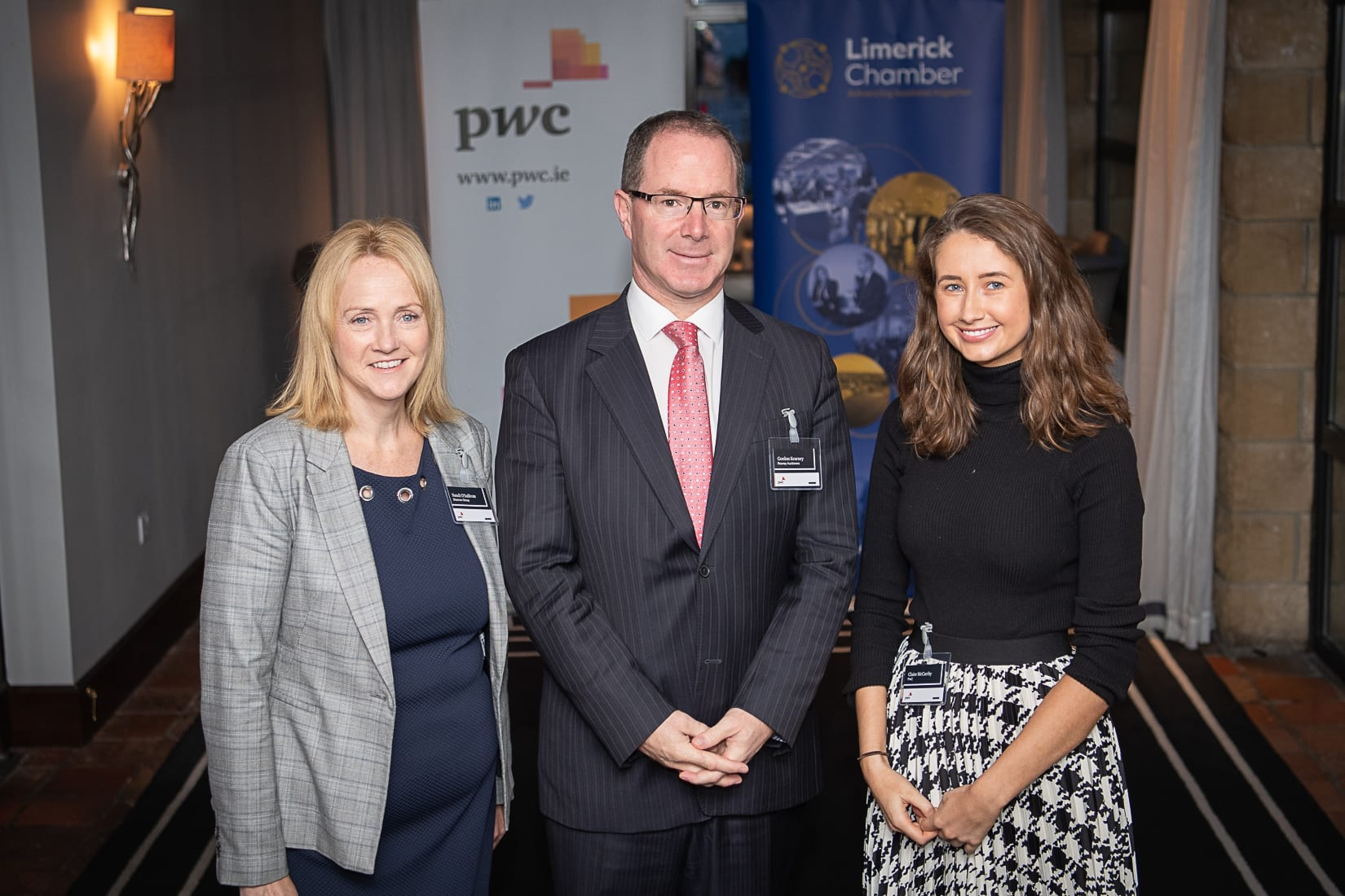 PWC Budget Breakfast in association with the Limerick Chamber which took place in the Castletroy Park Hotel on 9th October 2019, from left to right: Nandi O'Sullivan - Shannon Group, Goran Kearney - Rooney Auctioneers, Claire McCarthy - PWC.  Photo by Morning Star Photography