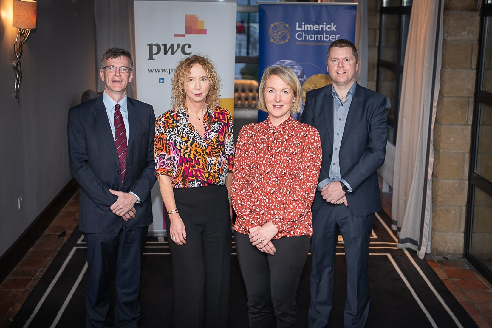 PWC Budget Breakfast in association with the Limerick Chamber which took place in the Castletroy Park Hotel on 9th October 2019, from left to right: Professor Alan Ahearne - Speaker, Mairead Connolly - PWC / Speaker, Emer Hodges - PWC / SPEAKER, Eoin Ryan - Limerick Chamber President.  Photo by Morning Star Photography