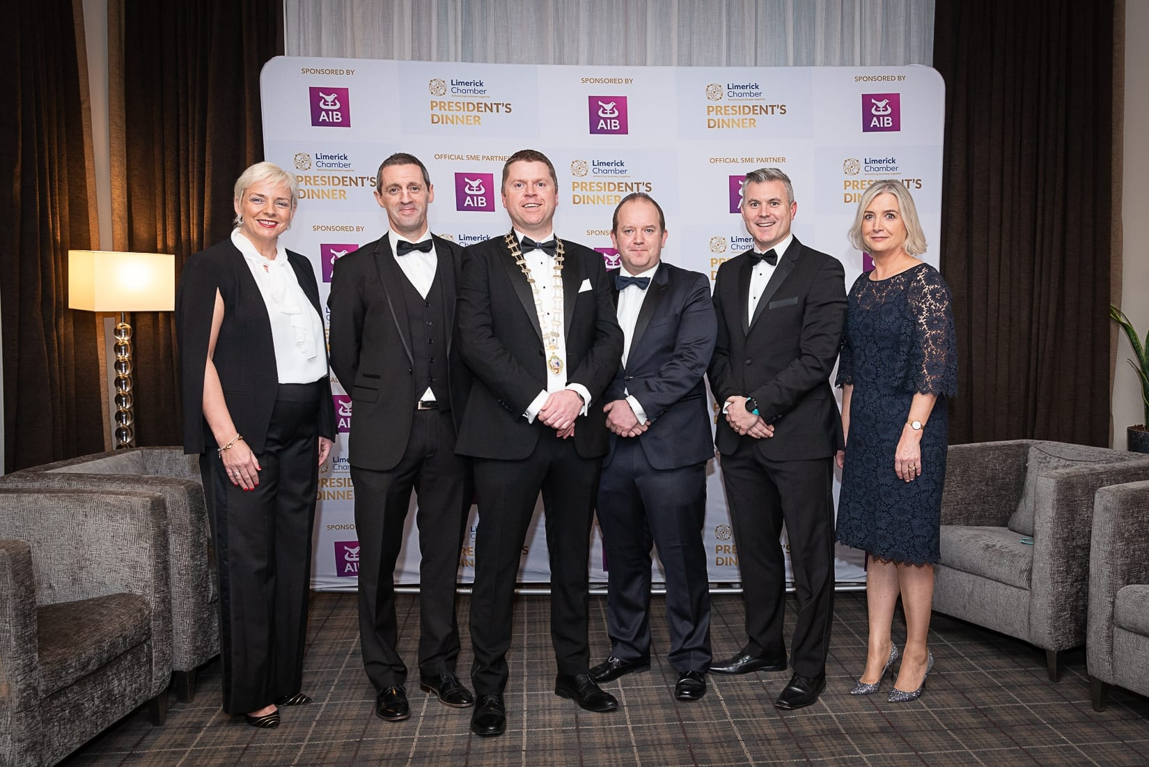 No repro fee-Limerick Chamber President's Dinner and Limerick Chamber Regional Business Awards 2019 which was held in the Strand Hotel on Friday 15th November /  AIB Sponsors/  - From Left to Right: Hilary Gormily, Kieran Considine, Eoin Ryan - President Limerick Chamber, Conor O'Sullivan, Mark Doyle, Judy Tighe all from AIB.  Photo credit Shauna Kennedy
