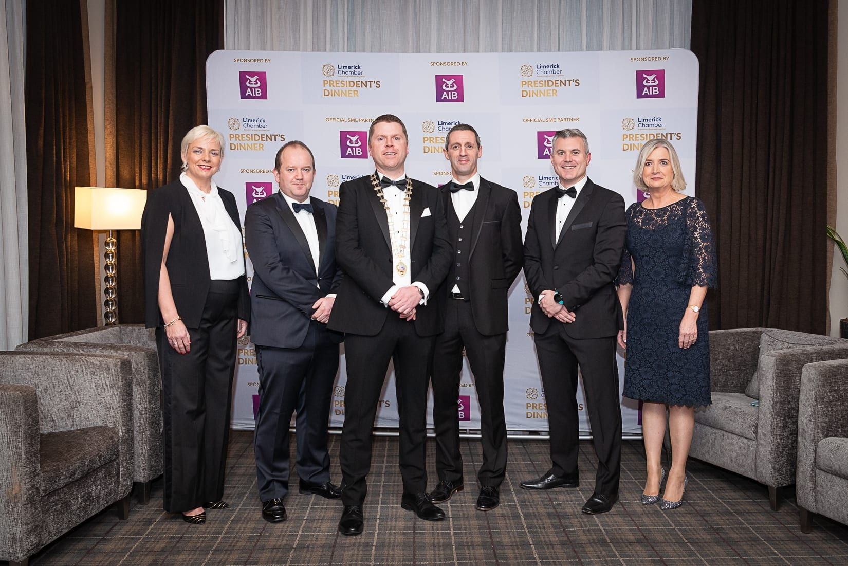 No repro fee-Limerick Chamber President's Dinner and Limerick Chamber Regional Business Awards 2019 which was held in the Strand Hotel on Friday 15th November /  AIB Sponsors/  - From Left to Right: Hilary Gormily, Conor O'Sullivan, Eoin Ryan - President Limerick Chamber, Kieran Considine, Mark Doyle, Judy Tighe all from AIB.  Photo credit Shauna Kennedy