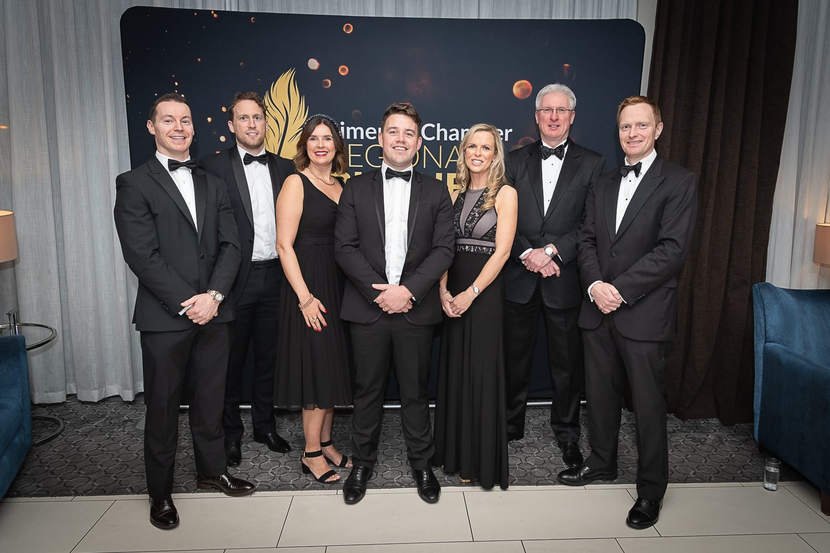 and Limerick Chamber Regional Business Awards 2019 which was held in the Strand Hotel on Friday 15th November / HOMS Sponsors/  - From Left to Right: Sean Fitzgerald, Neil O'Gorman, Lisa Killeen, Shane Costello, Sandra Egan, Donal Creaton, George Kennedy all from HOMS Photo credit Shauna Kennedy