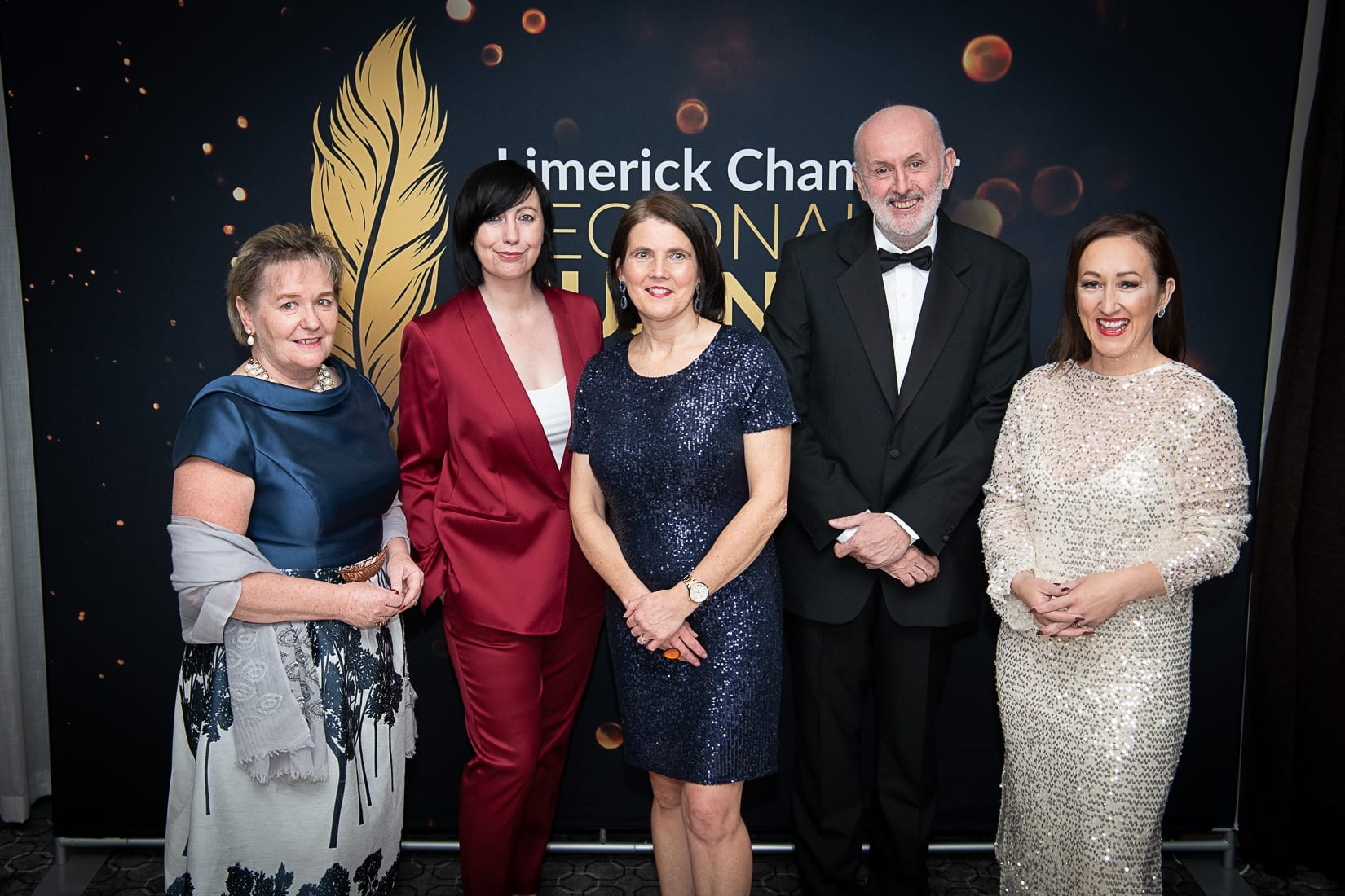 No repro fee-Limerick Chamber President's Dinner and Limerick Chamber Regional Business Awards 2019 which was held in the Strand Hotel on Friday 15th November / Limerick Chamber Skillnet Sponsors/  - From Left to Right: Yvonne Delaney, Lisa Moloney, Anne Morris - Limerick Chamber Skillnet / Sponsor, Fergal Delaney, Fiona Hayes. Photo credit Shauna Kennedy