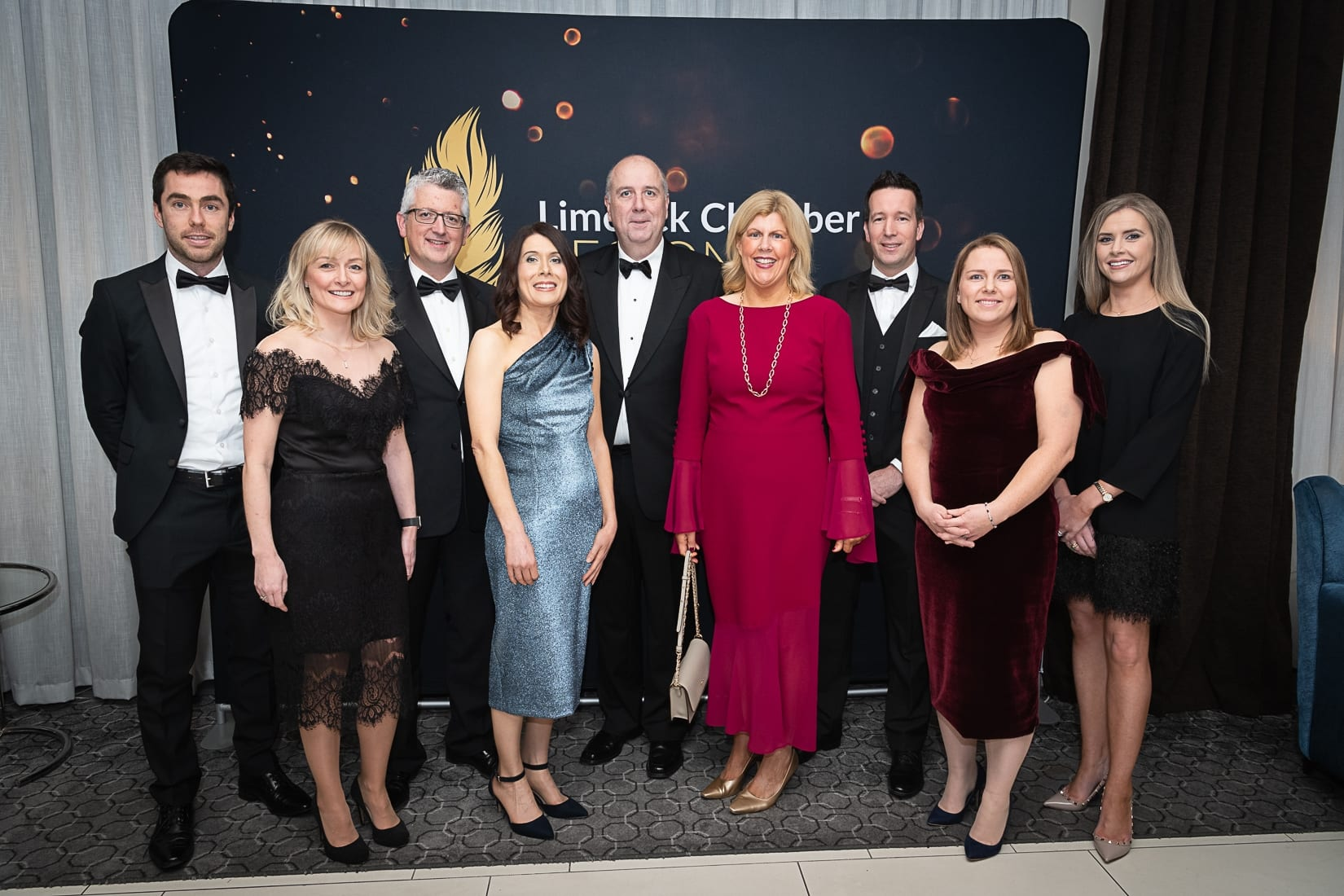 No repro fee-Limerick Chamber President's Dinner and Limerick Chamber Regional Business Awards 2019 which was held in the Strand Hotel on Friday 15th November / Deloitte Sponsors/  - From Left to Right: Conor McGrath, Karen Frawley, Gerard Casey, Mary McNamara, Cathal Treacy, Annette Pearse, Fergal Kenzie, Jane Hallinan, Erika Clancy all from Deloitte.  Photo credit Shauna Kennedy