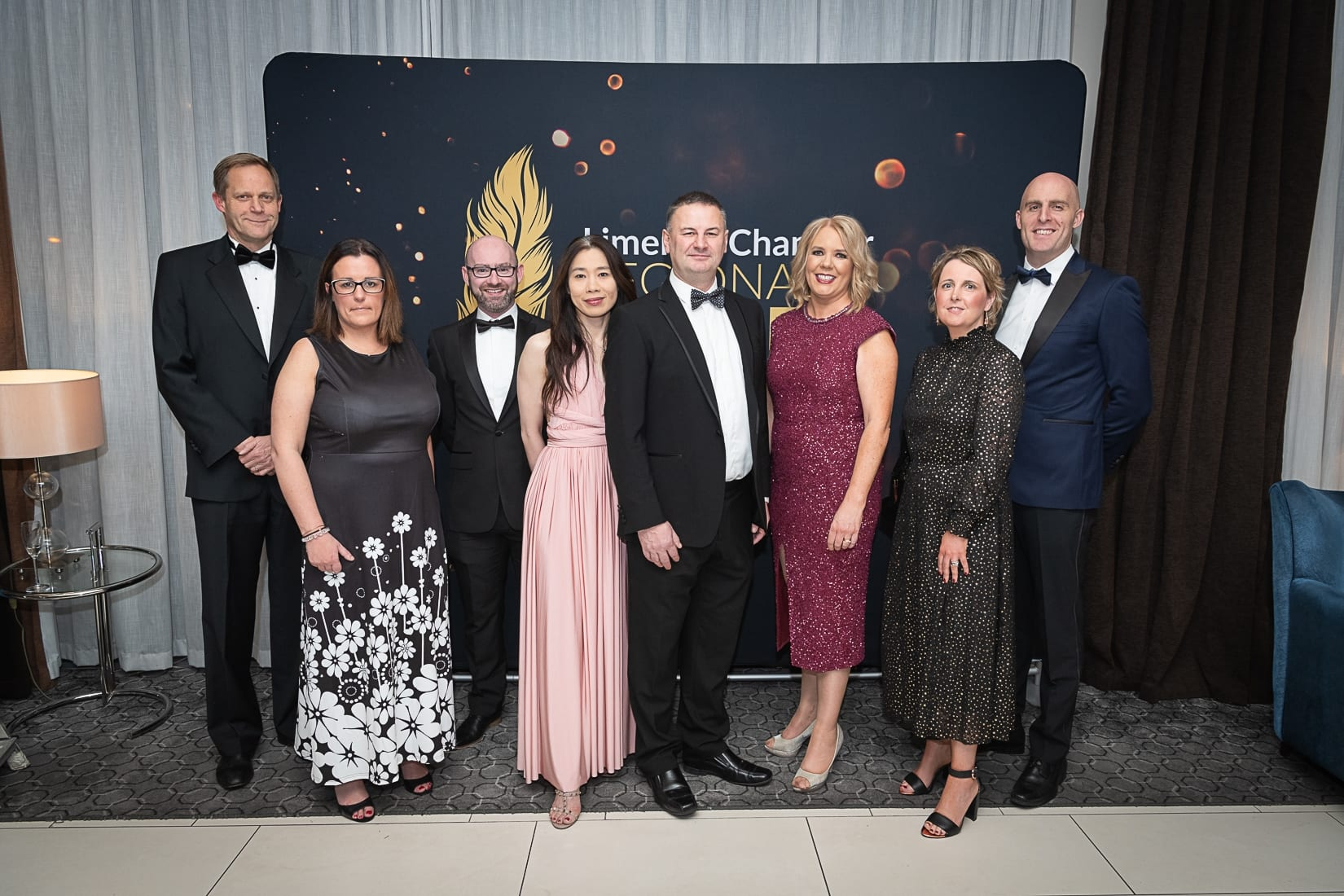 No repro fee-Limerick Chamber President's Dinner and Limerick Chamber Regional Business Awards 2019 which was held in the Strand Hotel on Friday 15th November - From Left to Right: Johnathan Sellors, Claire Walsh, Michael Dullard,  Dr. Uimay Ryan, Brendan Quinn, Lavinia Ryan, Karen Yelverton, Arron Keogh all from VHI Photo credit Shauna Kennedy