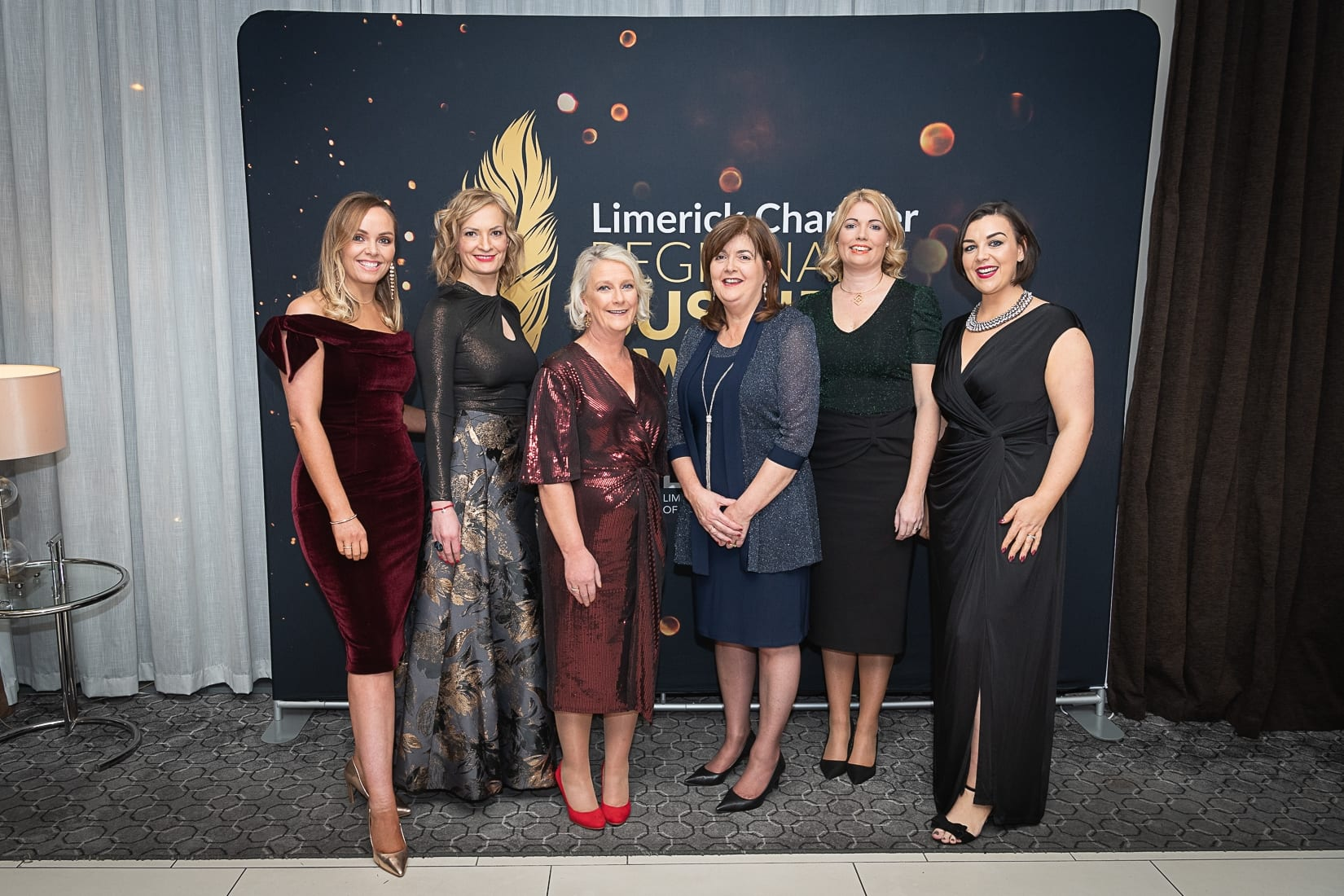 No repro fee-Limerick Chamber President's Dinner and Limerick Chamber Regional Business Awards 2019 which was held in the Strand Hotel on Friday 15th November - From Left to Right: Eimear O'Brien, Pauline Wysocka, Liz Horgan, Olive Noonan, Emer McGrath and Ciara Earlie all from BOI  Photo credit Shauna Kennedy