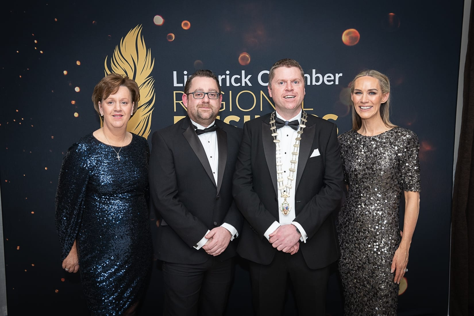 No repro fee-Limerick Chamber President's Dinner and Limerick Chamber Regional Business Awards 2019 which was held in the Strand Hotel on Friday 15th November - From Left to Right:Maria O'Gorman Skelly - Limerick Strand Hotel, Stephen O Connor - General Manager Limerick Strand Hotel,  Eoin Ryan - President Limerick Chamber, Dee Ryan - CEO Limerick Chamber Photo credit Shauna Kennedy