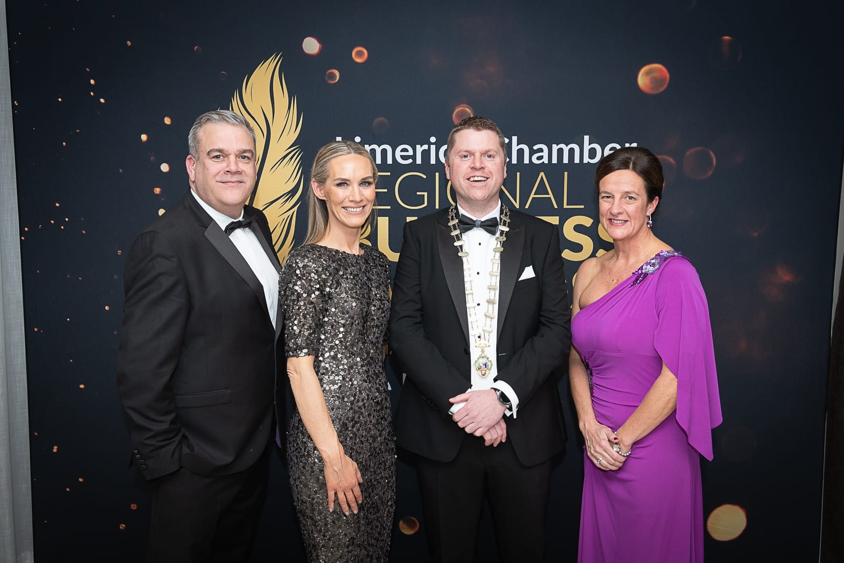 No repro fee-Limerick Chamber President's Dinner and Limerick Chamber Regional Business Awards 2019 which was held in the Strand Hotel on Friday 15th November - From Left to Right:Noel Gavin - Board of Directors Limerick Chamber,  Dee Ryan - CEO Limerick Chamber, Eoin Ryan - President Limerick Chamber, Dr Mary Shire - Board of Directors Limerick Chamber,   Photo credit Shauna Kennedy