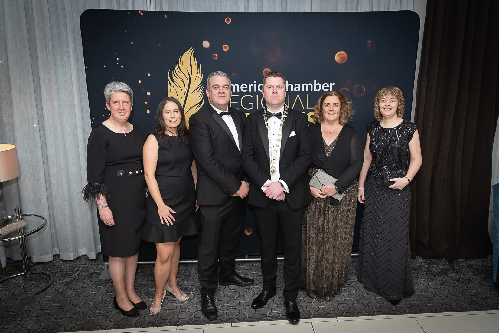 No repro fee-Limerick Chamber President's Dinner and Limerick Chamber Regional Business Awards 2019 which was held in the Strand Hotel on Friday 15th November - From Left to Right: Mary Lynch, Heather Hamilton, Noel Gavin, Eoin Ryan - President Limerick Chamber, Catherine Duffy - General Manager Northern Trust, Yvonne O'Keeffe all from Northern Trust  Photo credit Shauna Kennedy