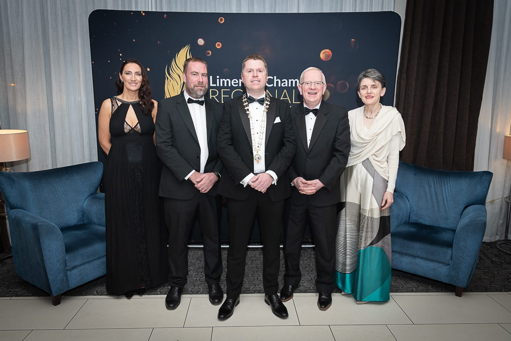No repro fee-Limerick Chamber President's Dinner and Limerick Chamber Regional Business Awards 2019 which was held in the Strand Hotel on Friday 15th November /  Limerick Institute of Technology Sponsors/  - From Left to Right: Gillian Barry - LIT, Philip Hennessy -LIT, Eoin Ryan - President Limerick Chamber, Professor Vincent Cunnane- President LIT, Frances O'Connell - LIT  Photo credit Shauna Kennedy