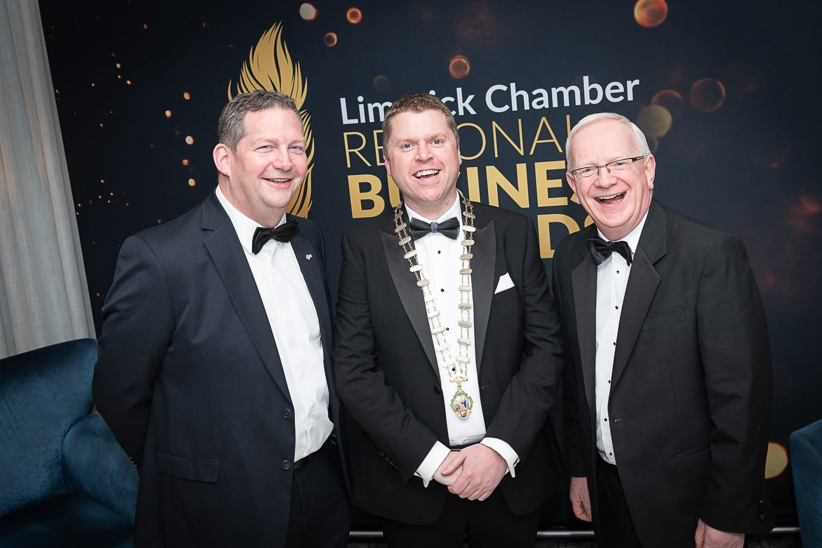 No repro fee-Limerick Chamber President's Dinner and Limerick Chamber Regional Business Awards 2019 which was held in the Strand Hotel on Friday 15th November /  Limerick Institute of Technology Sponsors/  - From Left to Right: Dr Liam Browne  - Vice President LIT, Eoin Ryan - President Limerick Chamber, Professor Vincent Cunnane- President LIT,  Photo credit Shauna Kennedy