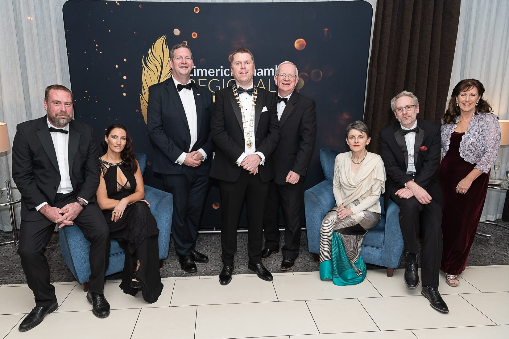 No repro fee-Limerick Chamber President's Dinner and Limerick Chamber Regional Business Awards 2019 which was held in the Strand Hotel on Friday 15th November /  Limerick Institute of Technology Sponsors/  - From Left to Right:  Philip Hennessy -LIT, Gillian Barry - LIT, Dr Liam Browne - Vice President LIT,  Eoin Ryan - President Limerick Chamber, Professor Vincent Cunnane- President LIT, Frances O'Connell - LIT, James Griffin - LIT, Carole Glynn  - LIT  Photo credit Shauna Kennedy