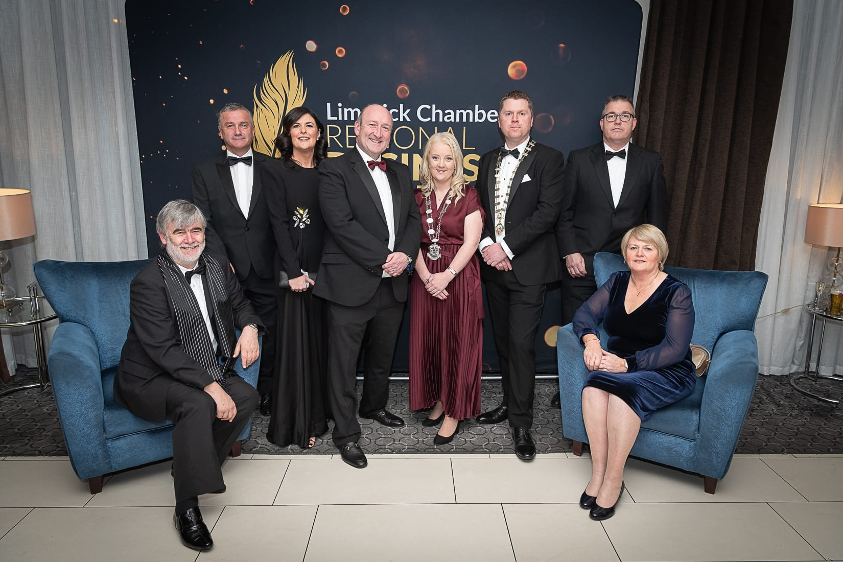 No repro fee-Limerick Chamber President's Dinner and Limerick Chamber Regional Business Awards 2019 which was held in the Strand Hotel on Friday 15th November /  Limerick Council  Sponsors/  - From Left to Right: Kieran Lahane, Pat Fitzgerald, Mary and Pat Daly, Deputy Mayor Sarah Kiely, Eoin Ryan - President Limerick Chamber,  Vincent Murray and Deirdre Moloney all from Limerick Council.  Photo credit Shauna Kennedy